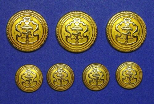 """TALBOTS """"T"""" SET OF 7 GOLD TONE METAL BLAZER REPLACEMENT BUTTONS, FAIR USED COND."""