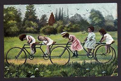 92769 AK All Heil Fahrrad 1907 Humor 5er Fahrrad Spezial Konstuktion mit Kindern