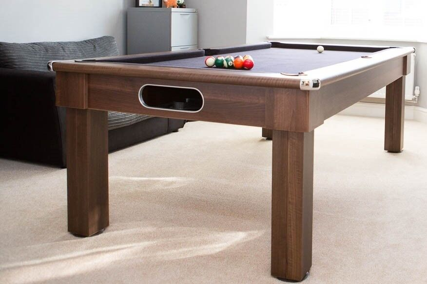 Oxford Pool Dining Table Ft Dark Walnut With Black Cloth - Pool dining table 7ft