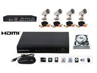 8 Channel CCTV DVR Security System INCLUDES 4 cameras, cables, PSU, Hard Drive, HDMI port *NEW*