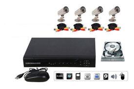 CCTV DVR Security System INCLUDES 4 cameras, DVR, cables, PSU, Hard Drive. FULL KIT