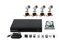 CCTV DVR Security System INCLUDES 4 cameras, DVR, cables, PSU, Hard Drive. FULL KIT