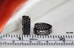 STERLING SILVER 3 ROW BLACK RHODIUM SMALL ROUND HUGGIE HOOP BLACK CZ EARRINGS TU