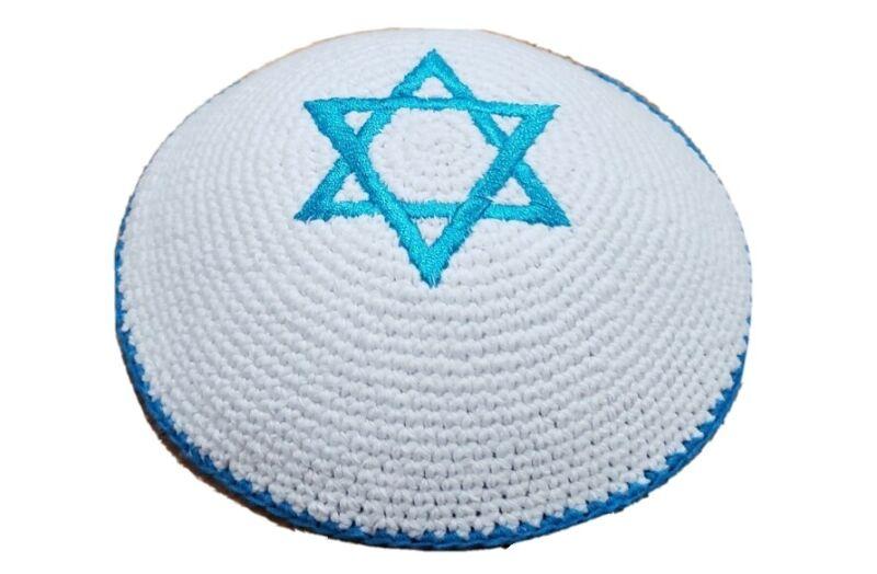 Handmade knitted kippah star of David kippah Yarmulke yamaka kipah