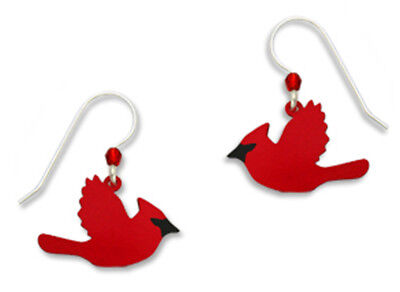 Sienna Sky Red CARDINAL IN FLIGHT Earrings STERLING Silver Ear Wires Bird + Box
