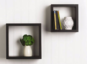 Set of 2 black wooden wall hanging cubbies shelves Brand New