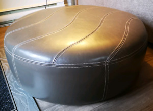 Leather Slate Gray Ottoman with White Stitching