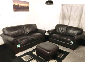 °° Ex display Dark brown real leather 3+2 seater sofas with footstool