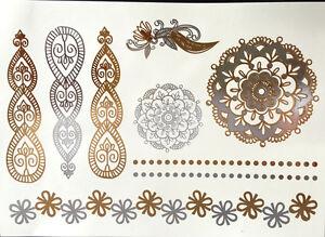 FLASH-Tatuaggio-temporaneo-UNA-VOLTA-Metallico-Oro-Argento-bracciale