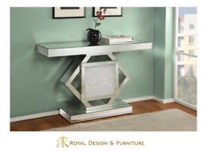 Brand New Mirrored Console with White Crystals