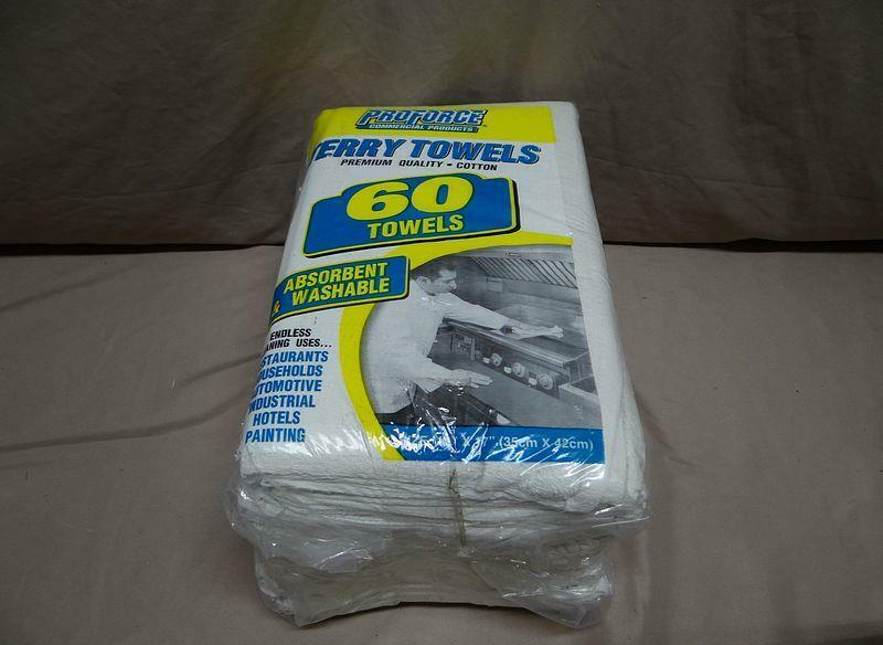 "Pro Source 60 Pack 14"" X 17"" Virgin White Terry Cotton Towels"