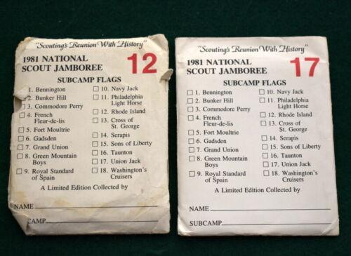 VINTAGE  BOY SCOUT 1981 NATIONAL JAMBOREE - TWO SUBCAMP FLAG CARD SETS