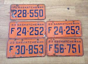 1963 SASKATCHEWAN LICENSE PLATES