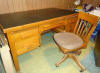 Vintage Solid Oak Office Desk & Swivel Chair