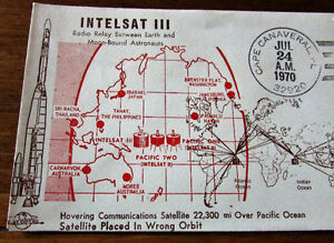 1970 INTELSAT III 6 Cent Space First Day Cover Kitchener / Waterloo Kitchener Area image 2