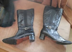 Black Leather tall boots