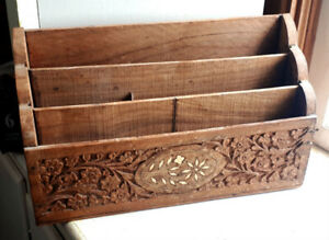 Antique 1920's Carved Mahogany Letter Holder Desk Organizer