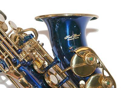 Karl Glaser Sopran Saxophon gebogen, blau Gold + Koffer Mundstück Blättchen