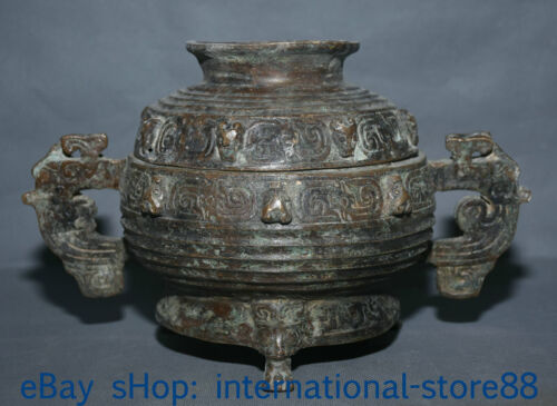 """8.8"""" Antiquity Chinese Bronze Ware Dynasty Palace Dragon Ear Incense Burners"""