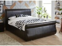Manhattan Brown Faux Leather Two Drawer Bed Frame including mattress.