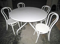 Nice White Dining Set: Large round Table with 4 Chairs,excell co