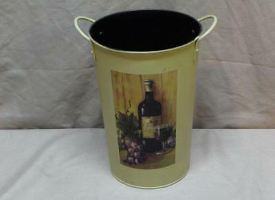 Metal Wine Chiller Cooler with wine bottle and grapes motif - holds one bottle