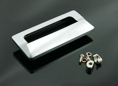 Rectangular Flush Pull Drawer Pulls Sliding Door Handle Satin Chrome - FP006