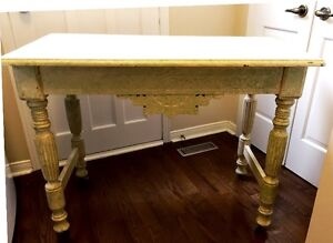 Classic Antique hand carved Victorian Table- French White Chic