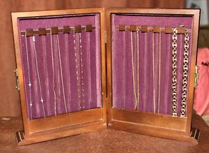 Unique Chain Wooden Jewelry box Standup Holds 10 Necklaces Jasco