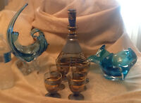 Vintage blue art glass:murano style bowls/decanter@glasses
