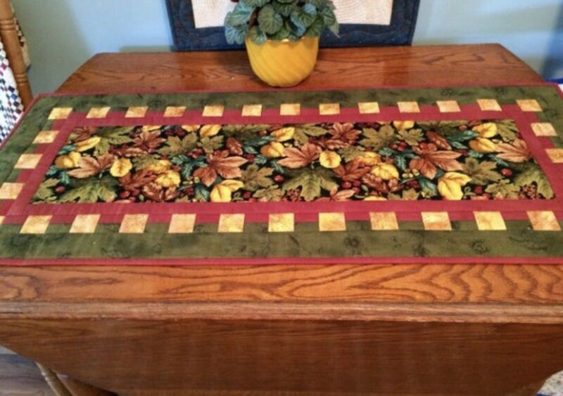 """Autumn Leaves Table Runner, Quilted Fall Table Decor, Handmade, 18"""" x 42"""""""