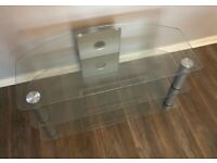 Glass silver tv stand unit cabinet