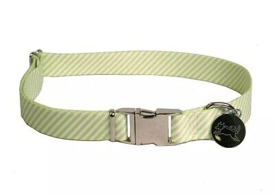 """Dog Collar Green White Stripe Adjustable Size Small 10""""-14"""" Southern Dawg"""