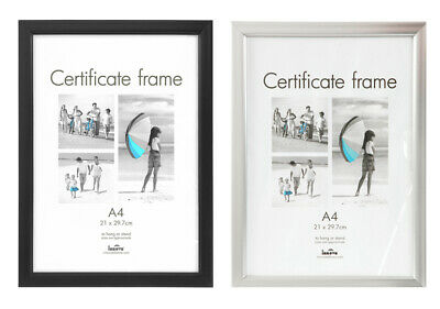 A4 Certificate Photo Picture Frame Black Or Silver Frames Acetate Fronts