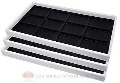(3) White Plastic Stackable Trays w/12 Compartment Black Jewelry Display Inserts