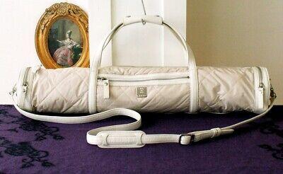 Vintage MCM Quilt Leahter Yoga Mat bag Beige Cream Authentic