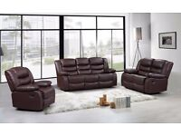 Reagan Luxury Bonded Leather Recliner Sofa SEt With Pull Down Drink Holder