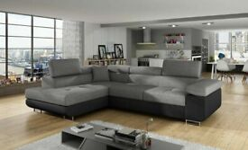Sofa, Anton PU leather fabric corner sofa bed storage black grey white available in stock order now