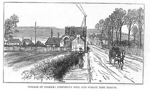 PORTSMOUTH Cosham, Portsdown and Fort Widley Hill Behind- Antique Print 1882