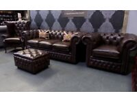 NEW Chesterfield Suite 3 Seater Sofa, 2 Chairs and Footstool in Antique Brown Leather - UK Delivery