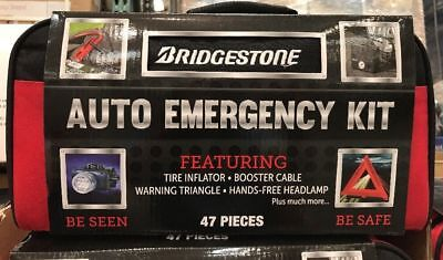 New 47 Pieces Bridgestone Auto Emergency Kit With Tire Inflator, Booster Cable