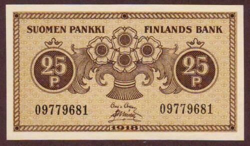 FINLAND  25 Pennia  1918    UNC