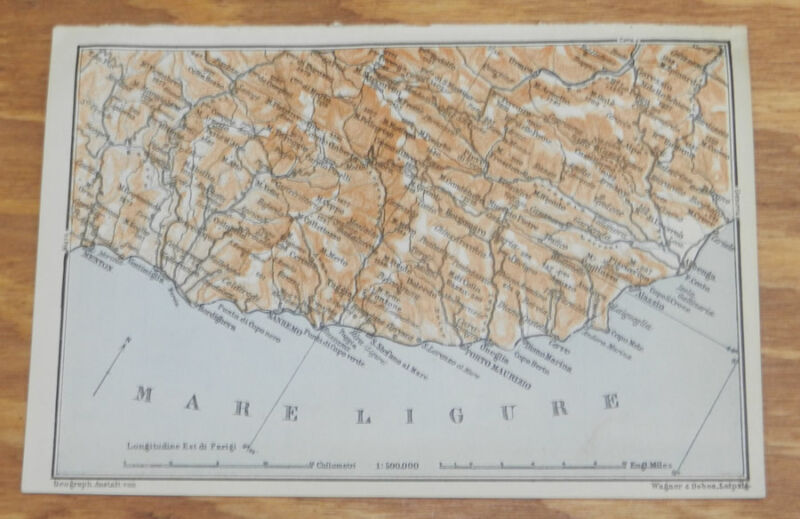 1909 Antique COLOR Map of LUGANO LAKE AREA, ITALY