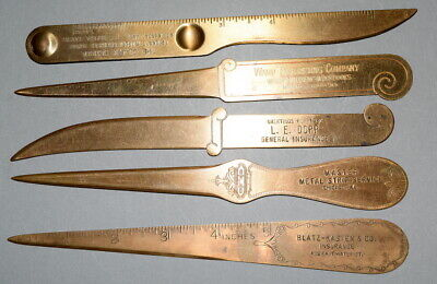 Five Different Vintage BRASS ADVERTISING LETTER OPENERS