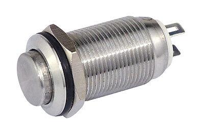 Drucktaster Edelstahl IP67 12 mm Schließer 36 V / 2 A Lötbar 11031