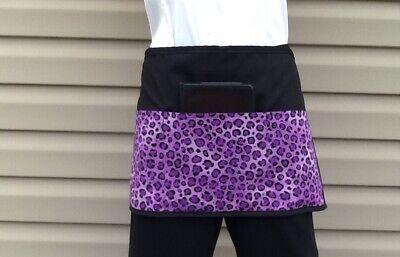 Black Cheetah Animal Print 3 Pocket Waitress Waist Half Apron Server Resturants
