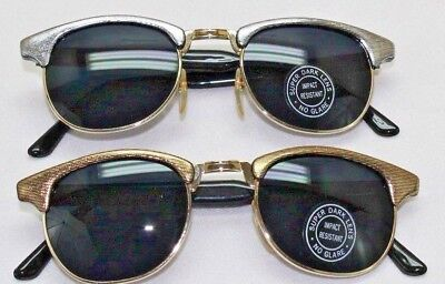 Retro Steampunk Round Sunglasses Black Frame Super Dark Lenses Gold or (Dark Black Round Sunglasses)