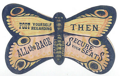 OLD VAUDEVILLE DIE CUT BUTTERFLY TRADE CARD * ALL the RAGE * FREE SHIP TC1718 - Butterfly Trade