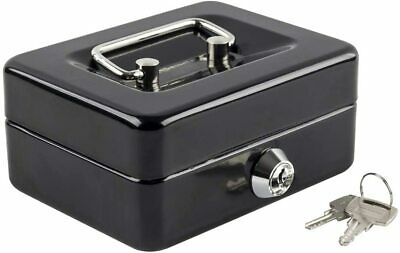 Cash Box With Money Tray Metal Black 4.9x 3.7 Small Lock Safe Key For Kids