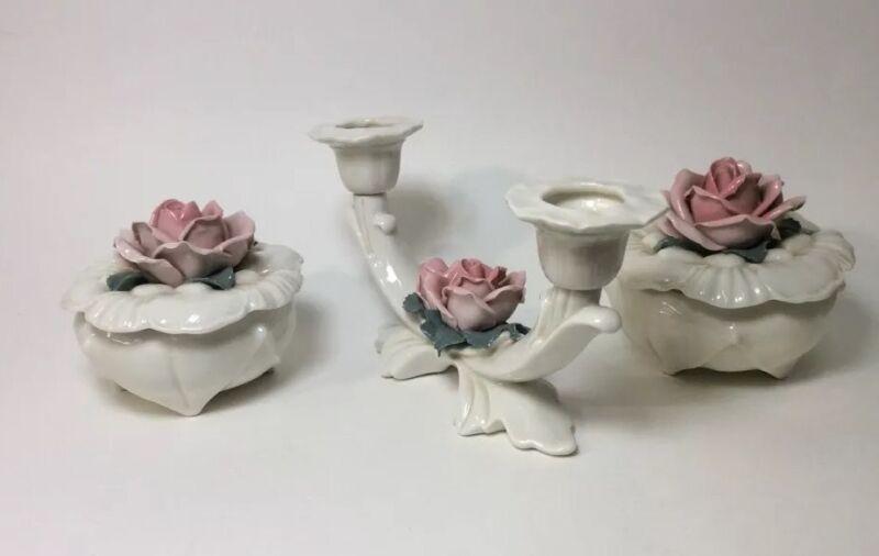 Karl Ens Ceramics - 2 Porcelain Rose Trinket Boxes & 1 Double Candle Holder